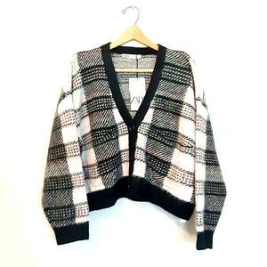 Zara Plaid Oversized Cardigan Sweater Buffalo